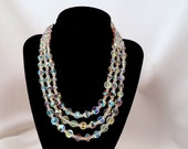 Vintage Crystal Aura Borealis Triple Strand Necklace Faceted Crystal Glass Beads Carnival Glass