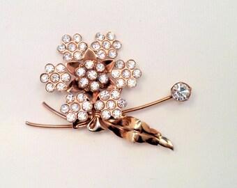 Large Vintage Clear Austrian Crystal Rhinestone Rose Gold Tone Flower Brooch Pin