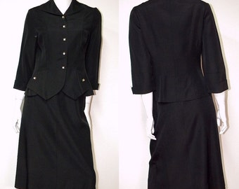 Ladies 1940s Vintage Rayon Skirt Suit Rhinestone Buttons