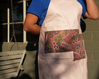 Woman's  men's full apron, pink,, large paisley pockets, heavy canvas, fits medium to plus size