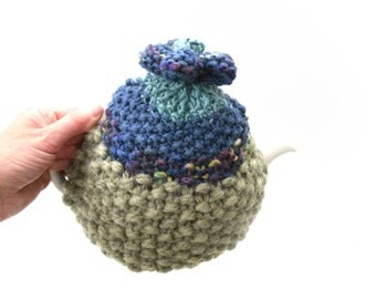 Handknit Tea Pot Cosy,  chunky knit , hippy knit,  flower power , kitchen  knit , xmas gift, moss green , mothers day gift for her