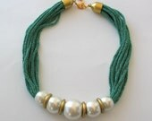 Chunky Pearl Necklace - Pearl Statement Necklace - Bridal Necklace - Bridesmaid Necklace   E187