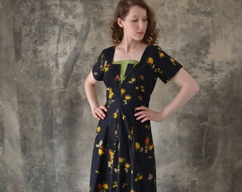 1940s Black Print Cotton Dress
