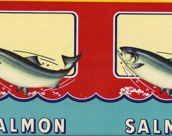 Salmon Vintage Can Label, 1940s