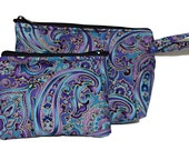 Purple Paisley Makeup Bag and Coin Bag Set