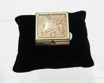 Vintage Pill Box- Gold tone, w/ Sequined Lid, RO40134