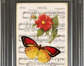 Orange butterfly Flower print on dictionary or music page COUPON SALE Wall decor Sheet music print Digital art print Wall art. Item No. 214