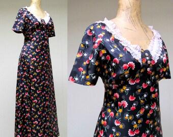 Vintage 1960s Dress / 60s Romantic Floral Rayon Maxi Dress / Medium