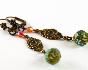 Pink Blue Antique Brass Brown Summer Earrings Garden Flowers