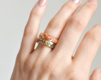 Stacking rings, copper and green faceted ring,  set of rings , eco resin jewelry, size US 6 ring everyday rings