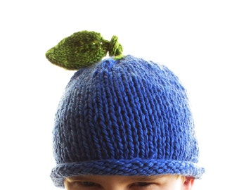 Blueberry Hat - Soft Hand Knit - Child Teen size - Made to Order