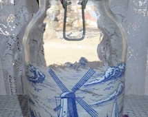 Vintage Cobalt Blue White Dutch Holland Windmill 3L Carlton Glass Jar