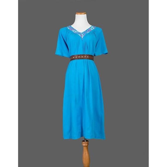 SALE, 1970s Hippie Dress, Vintage 70s Caftan Dress, Mexican Embroidered, Aqua Blue, Peasant Dress, Short Sleeve, Large L XL