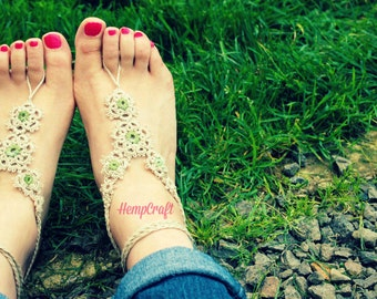 Barefoot Sandals Natural and Green Hemp Tatted Lace Bottomless Footwear