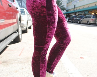 Maroon Crushed Velvet Leggings / More colors Available / Handmade by GAG THREADS