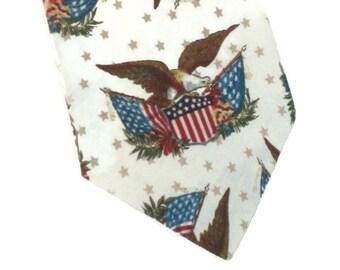 Men's Neck Tie Eagle Flag