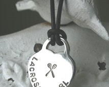 sterling silver Lacrosse Girl style heart pendant on black or brown leather