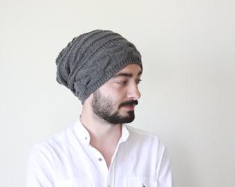 Winter hat men, Slouchy beanie men, Mens knit hat, Mens wool hat in dark grey - Bonnet homme