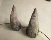 OOAK handmade, one of a kind, polymer clay horns, hand painted, natural color, bone colors