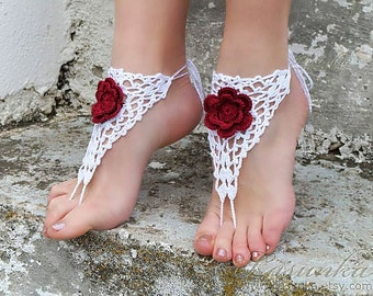 Handmade Crochet White Barefoot Sandals with 3D Red flower, Nude shoes, Foot jewelry, Wedding, Sexy, Yoga, Anklet, Bellydance, Beach Pool