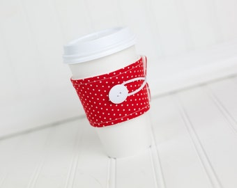 Reusable Fabric Coffee Sleeve, Red White Polka Dot, Women's Girl's Coffee Cuff Cozy