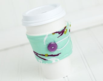 Branch Print, Mint Green and Plum Purple, Reusable Fabric Coffee Sleeve,Coffee Cozy, Women's Stocking Stuffer Gift Idea