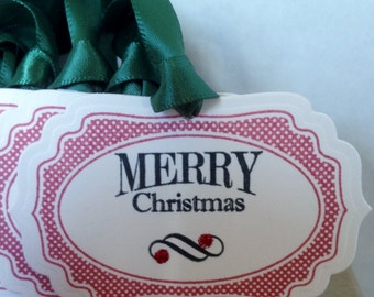 Set of 6 Christmas Gift tags, Holiday Gift Tags, Chritmas Tags, Holiday Tags, Christmas Hand Stamped Tags