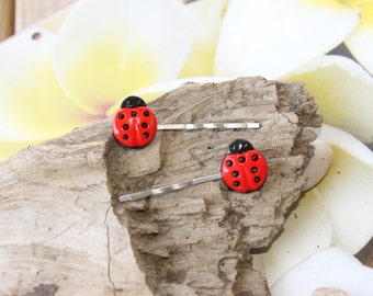 Lady Bug Hair Clips,  Bobby  Pins 2 Hair Clips, Girls, Teens,  Handmade By: Tranquilityy