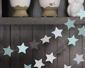 Star Garland, Paper Garland, Birthday Garland, Wedding Garland, Shower Garland: Blue and Grey