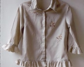 Vintage oatmeal linen summer jacket, shirt or blouse with floral embroidery and ruffles. Size medium M