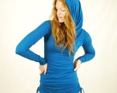 Sapphire Blue Womens Top - Long Sleeve Fitted Tunic - Cowl Hoodie - Eco Friendly - Organic Clothing