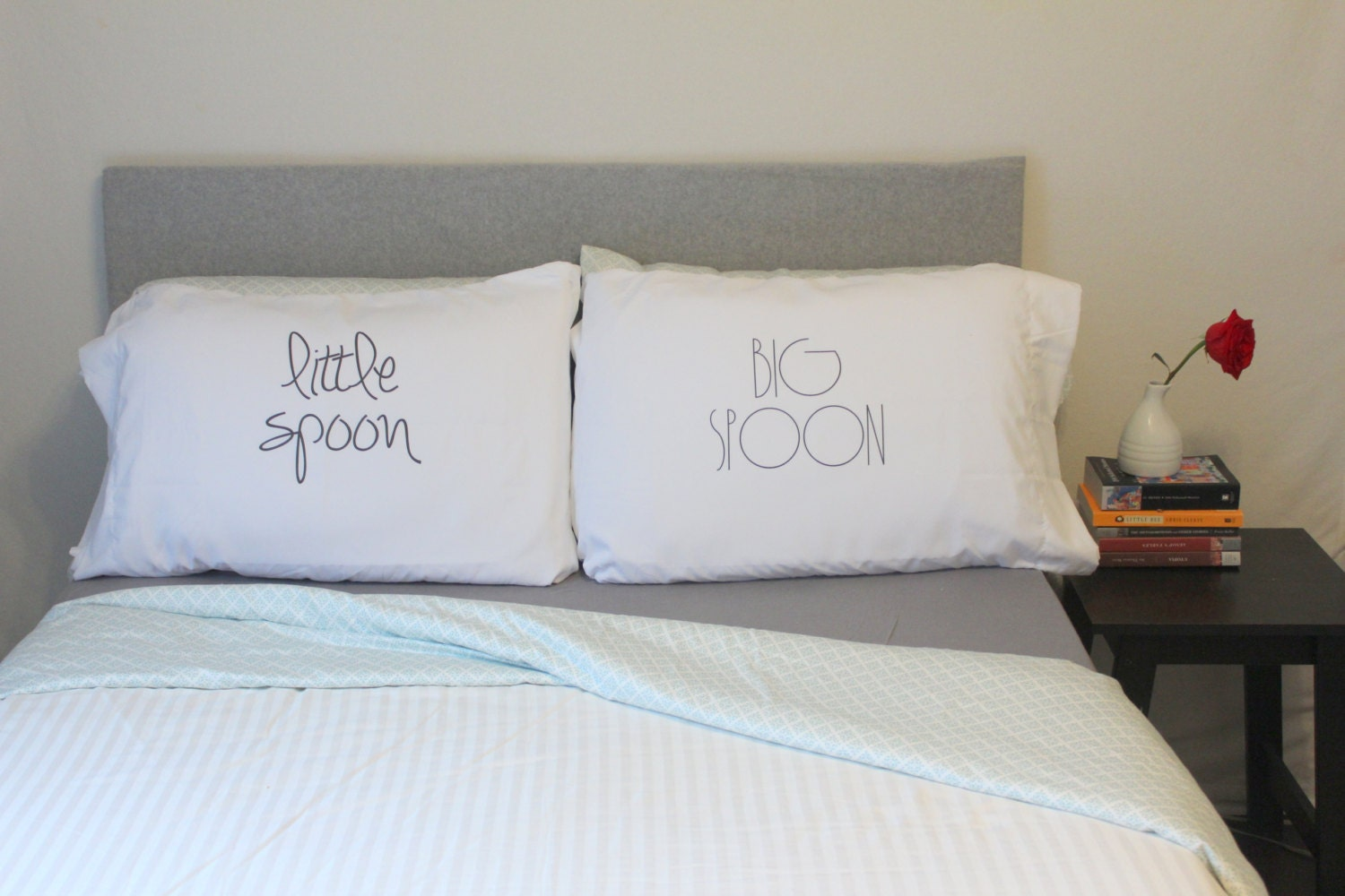 couples bedding - wedding gift big spoon little spoon pillow cases for couples