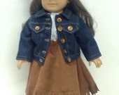 "Cowgirl Outfit for 18"" Dolls fringed suede skirt denim jacket white blouse"