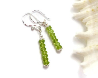 Peridot Earrings, Sterling Silver, Peridot Jewelry, Green Stone Earrings, Birthstone Jewelry