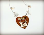 Typewriter Dream Heart Author Necklace - The Bibliophile Collection