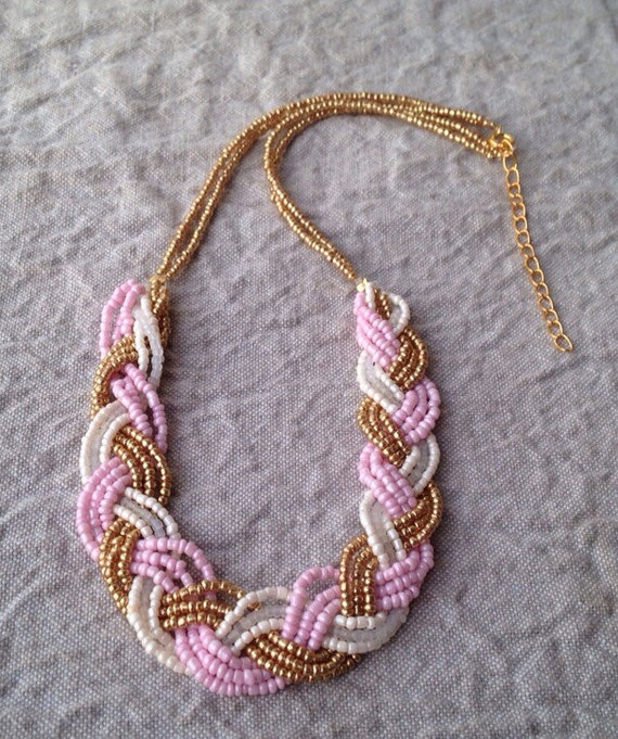 Braided pale pink ivory and gold bib necklace, braided beaded bib necklace, pale pink necklace, pink bridesmaids, gold bridesmaids, necklace