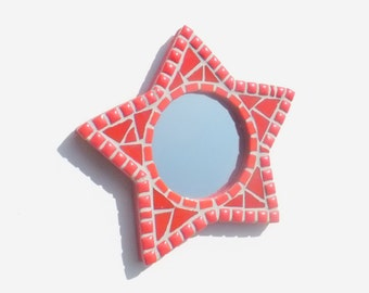 Star Mirror in Red, Mosaic Star Small Wall Mirror, Red Star Mirror