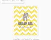 "Elephant CANVAS art, Baby boy yellow and gray nursery decor  ""Dream Big Little Man"", chevron, baby shower gift by YassisPlace"
