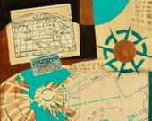 Place, mixed-media/acrylic on canvas, map art