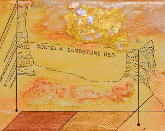 Sandstone, mixed-media/encaustic on canvas, map art