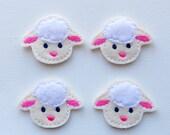 Easter Lamb Felt Applique - Sheep Feltie Applique - Lamb Embroidered Felt Stitches - Lamb Applique-UNCUT (Set of 4)