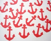 100 Nautical Red Anchors punch die cut confetti scrapbook embellishments - No558