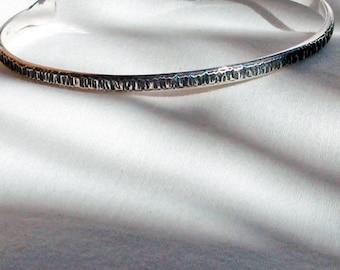 Medium Green Sterling Silver Bracelet Hand Hammered Hash Textured