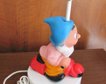 "Vintage Novelty Rubber ""Dwarf Riding a Motorcycle"" Kid's Bedroom Table Lamp - Kitsch - Home Decor"