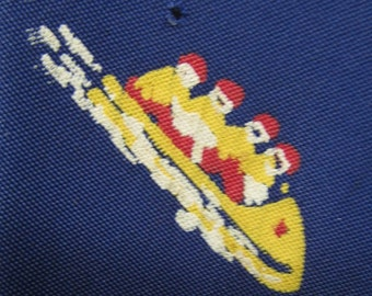 1930s-40s-50s Winter Sports themed tie by PILGRIM - Navy Blue - Ski - hand painted - art deco