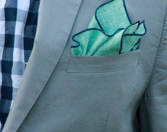 Pocket Square Mint with Navy Piping