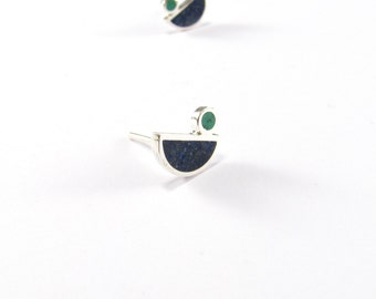 Sterling Silver Earrings, Blue, Little Birds, Ear Studs, Modern, Contemporary, Minimal