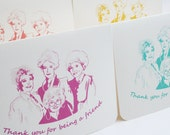 Golden Girls Card - Thank You for Being a Friend - Set of 4 Thank You notes with envelopes, thanks, retro stationery, bridesmaids