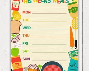 Printable Menu Weekly Food Planner Food Cooking Illustrations