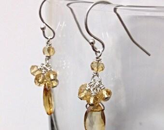 Teardrop Citrine cluster dangling earring on sterling silver